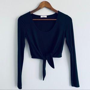 Babaton Black Front Tie Long Sleeve Crop Top